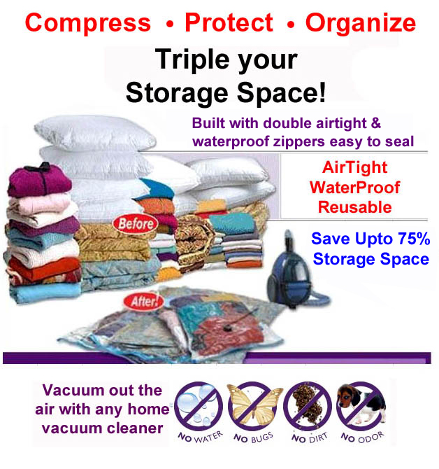 60 Pcs MixSize 30-M 30-L Vacuum Space Bag Saving Storage Space Bags